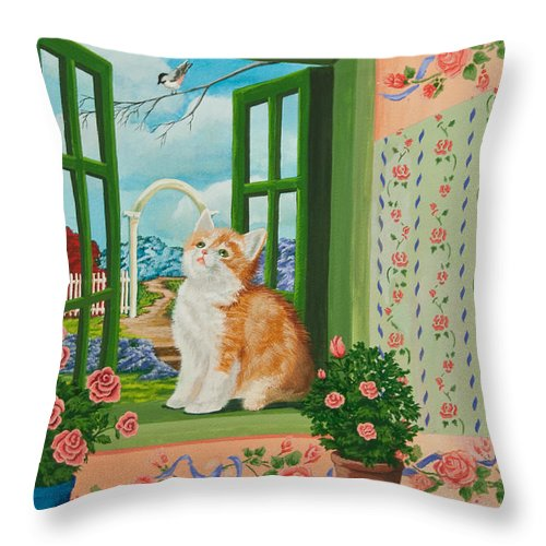 Kittens Throw Pillow featuring the painting Spring Through My Window by Charlotte Blanchard
