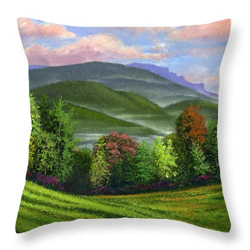 Landscape Throw Pillow featuring the painting Spring Time by Frank Wilson