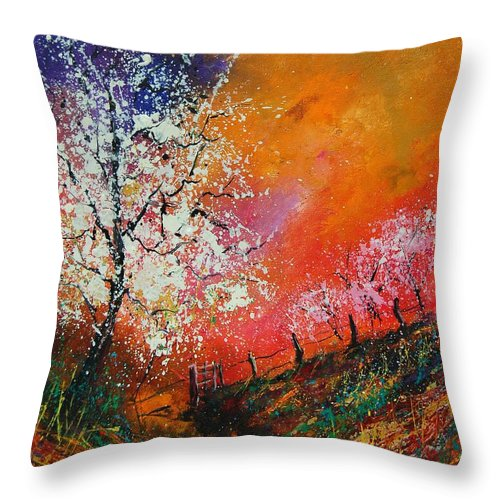 Spring Throw Pillow featuring the painting Spring Today by Pol Ledent