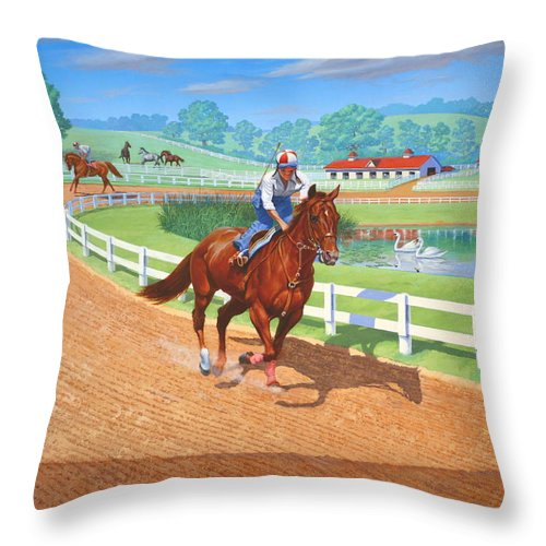 Western Artist Throw Pillow featuring the painting Spring Training by Howard Dubois
