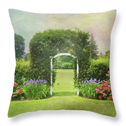 Trellis Throw Pillow featuring the photograph Spring Trellis by Diana Angstadt