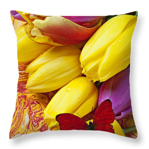 Red Throw Pillow featuring the photograph Spring Tulips by Garry Gay