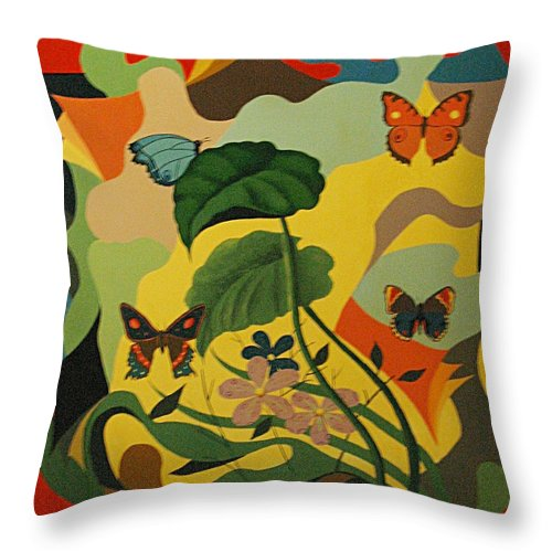 Abstract Throw Pillow featuring the painting Spring by Vasilis Bottas