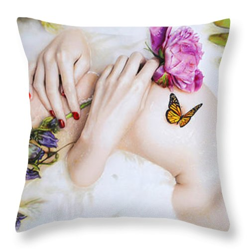 Butterflies Throw Pillow featuring the mixed media Spring by Vic Lee