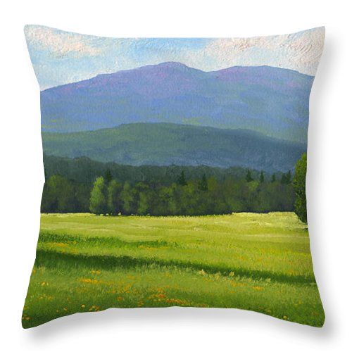 Landscape Throw Pillow featuring the painting Spring Vista by Frank Wilson