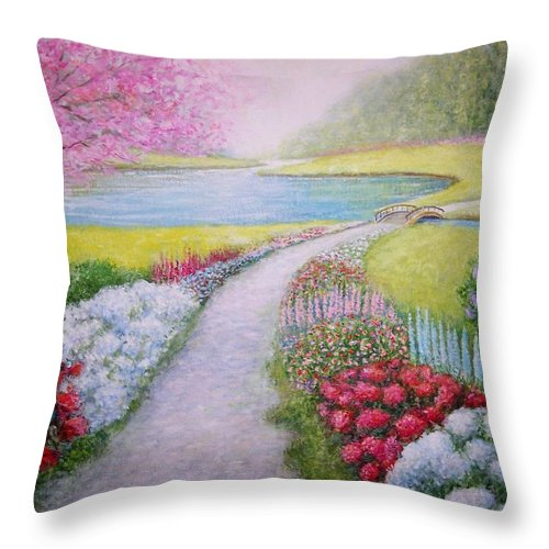 Landscape Throw Pillow featuring the painting Spring by William H RaVell III