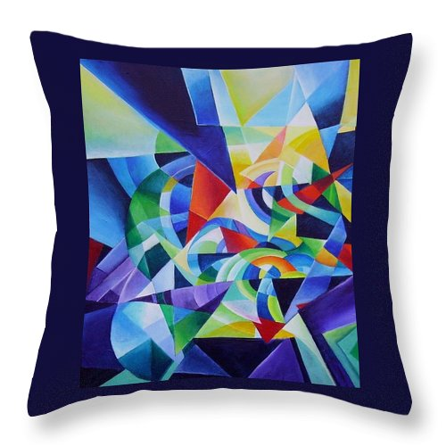 Spring Antonio Vivaldi Acrylic Abstract Music Four Seasons Throw Pillow featuring the painting Spring by Wolfgang Schweizer