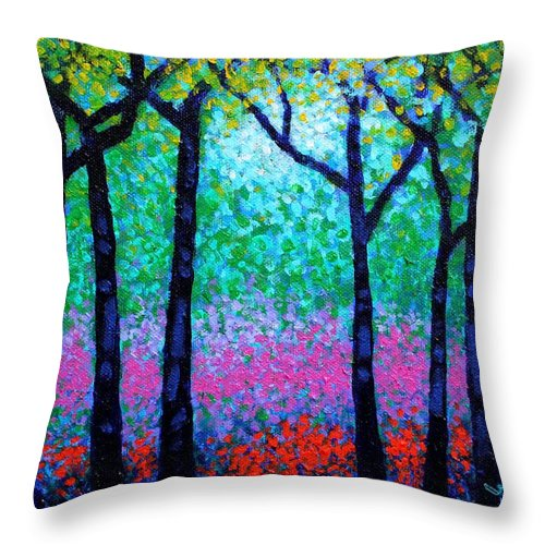 Landscape Throw Pillow featuring the painting Spring Woodland by John Nolan