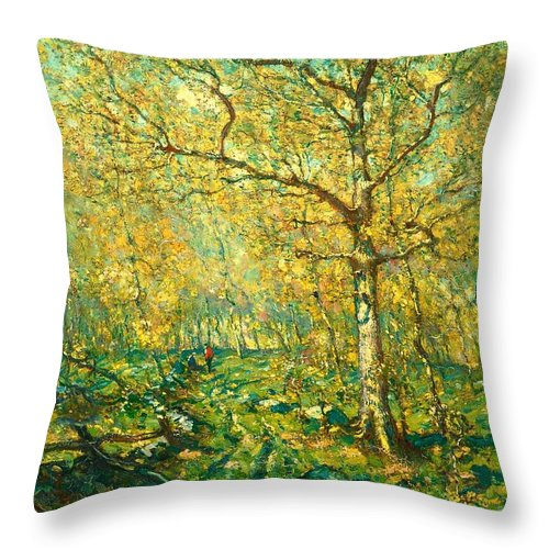 Painting Throw Pillow featuring the painting Spring Woods by Mountain Dreams