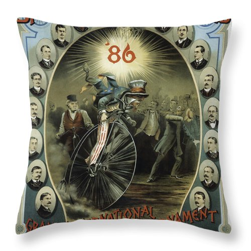 Bicycle Throw Pillow featuring the photograph Springfield Bicycle Club 1886 by Daniel Hagerman