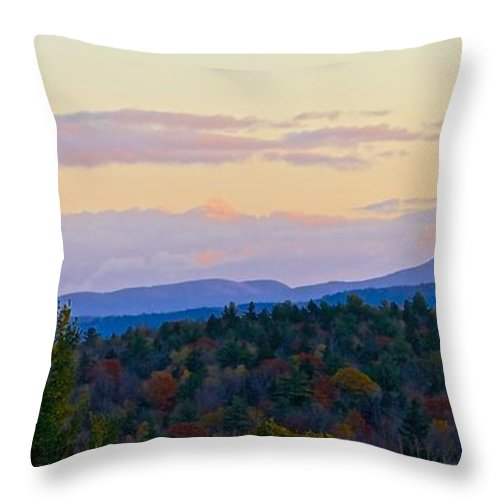 Springfield New Hampshire Mountains Throw Pillow featuring the photograph Springfield New Hampshire Mountain Veiw Fall Colors by Mark Holden