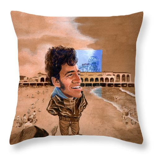 Bruce Springsteen Throw Pillow featuring the painting Springsteen On The Beach by Ken Meyer