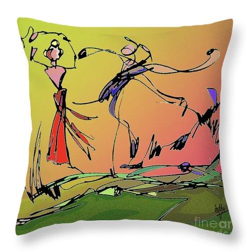 Figurative Throw Pillow featuring the digital art Springtime Dance Nine by Anthe Capitan-Valais