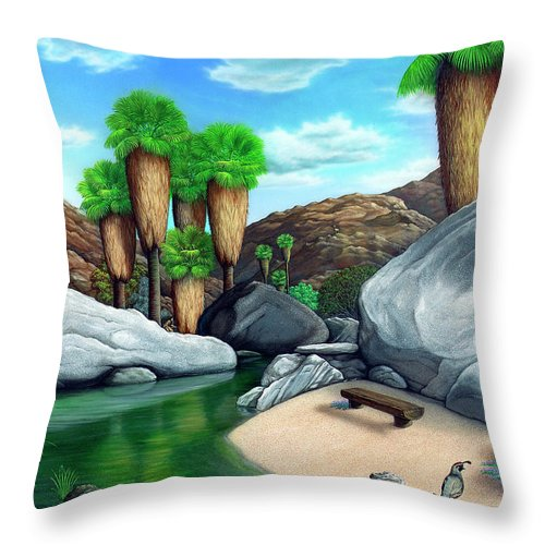 Landscape Throw Pillow featuring the painting Springtime In The Canyons by Snake Jagger