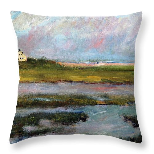 Nature Throw Pillow featuring the painting Springtime In The Marsh by Michael Helfen