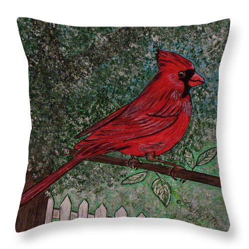 Springtime Throw Pillow featuring the painting Springtime Red Cardinal by Kathy Marrs Chandler