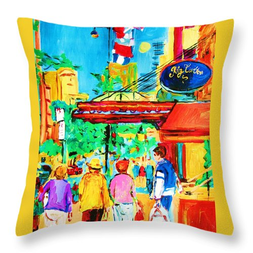 Paintings Of The Ritz Carlton On Sherbrooke Street Montreal Art Throw Pillow featuring the painting Springtime Stroll by Carole Spandau