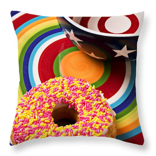 Donuts Throw Pillow featuring the photograph Sprinkled Donut On Circle Plate With Bowl by Garry Gay