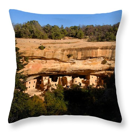 Art Throw Pillow featuring the painting Spruce Tree House by David Lee Thompson