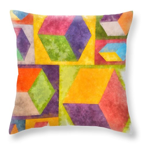 Painting Throw Pillow featuring the painting Square Cubes Abstract by Edward Fielding