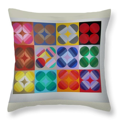 Multi Colored Circles On Squares Throw Pillow featuring the painting Square Dancing by Gay Dallek