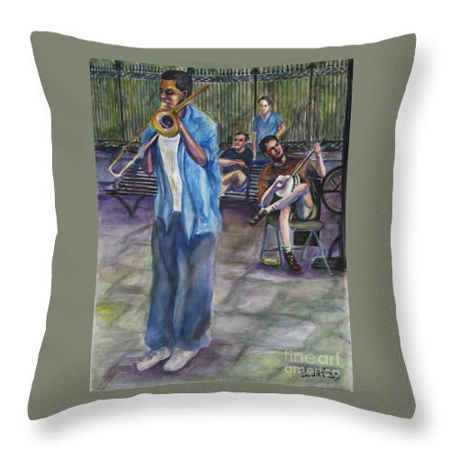 New Orleans Throw Pillow featuring the painting Square Slide by Beverly Boulet