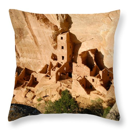 Square Tower Throw Pillow featuring the photograph Square Tower Ruin by David Lee Thompson