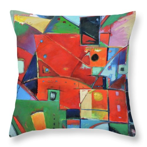 Abstract Throw Pillow featuring the painting Square With Friends by Gary Coleman