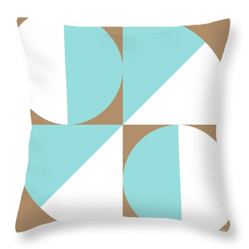 Minimalist Throw Pillow featuring the digital art Squared Circle Quadrants - Iced Coffee - Limpet Shell - White by Jason Freedman