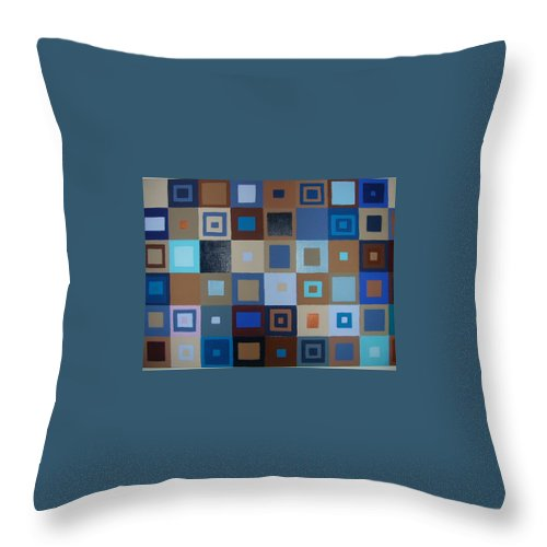 Shades Of Brown And Blue Squares Painting Throw Pillow featuring the painting Squares Have It by Gay Dallek