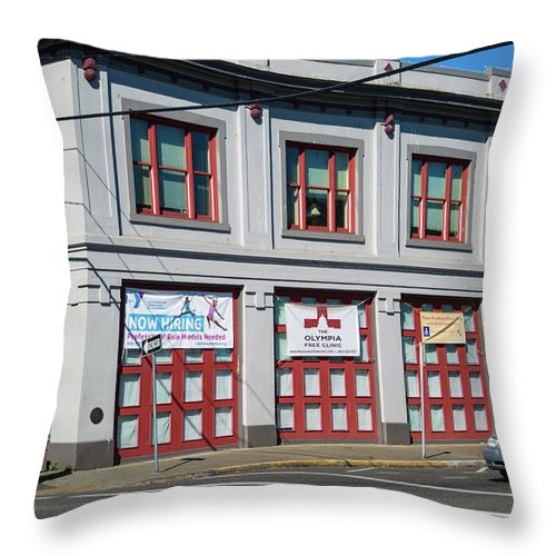 Red And Gray Squares Throw Pillow featuring the photograph Squares Of Red And Gray by Tom Cochran
