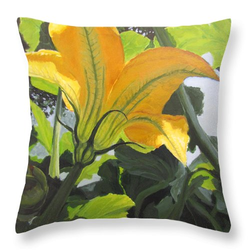 Vegetable Throw Pillow featuring the painting Squash Blossom by Karen Ilari