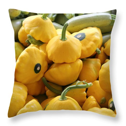 Squash Throw Pillow featuring the pyrography Squash by Inho Kang