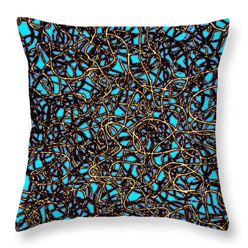 Abstract Digital Art Throw Pillow featuring the digital art Squiggle 6 by Andy Mercer