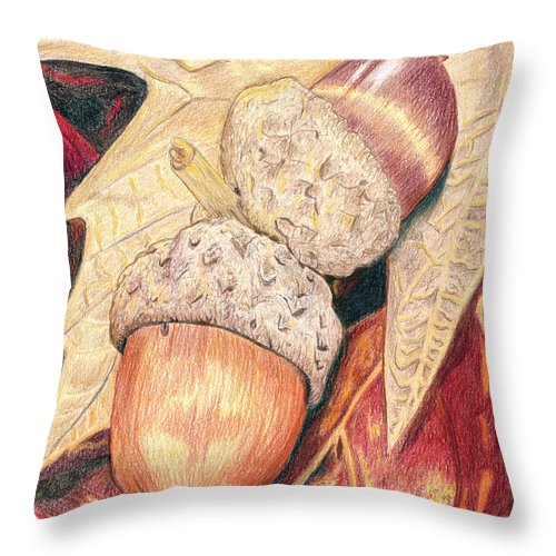 Colored Pencil Throw Pillow featuring the drawing Squirrel Food by Stacie Dowdy