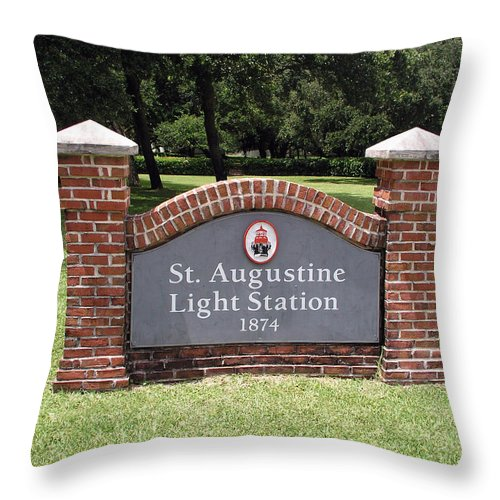 Lighthouse; Light; House; Keeper; St. Augustine; Florida; Coast; Shine; Fog; Storms; U.s.; Coast; Gu Throw Pillow featuring the photograph St. Augustine Florida Lighthouse by Allan Hughes
