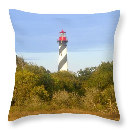 St. Augustine Florida Throw Pillow featuring the photograph St. Augustine Light House by David Lee Thompson