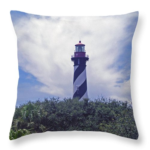 Lighthouse; Light; House; Keeper; St. Augustine; Florida; Coast; Shine; Fog; Storms; U.s.; Coast Gua Throw Pillow featuring the photograph St Augustine Light On The Atlantic Coast Of Florida by Allan Hughes
