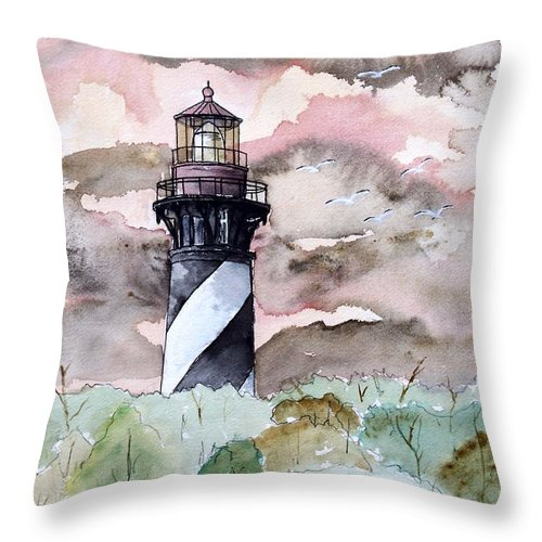 Lighthouse Throw Pillow featuring the painting St Augustine Lighthouse by Derek Mccrea