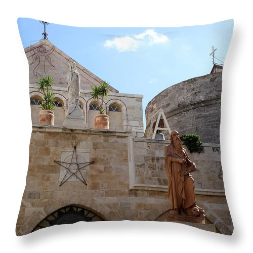 Bethlehem Throw Pillow featuring the photograph St Catherine Church by Munir Alawi