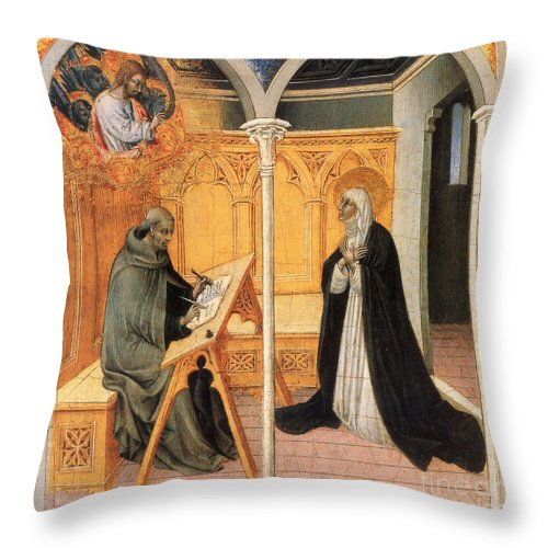 15th Century Throw Pillow featuring the painting St. Catherine Of Siena by Granger