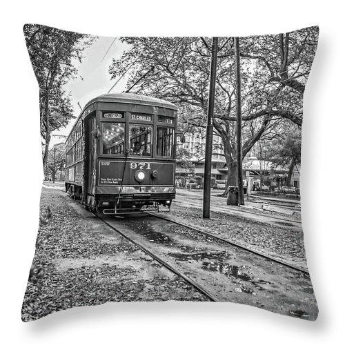 Nola Throw Pillow featuring the photograph St. Charles Streetcar Monochrome by Steve Harrington
