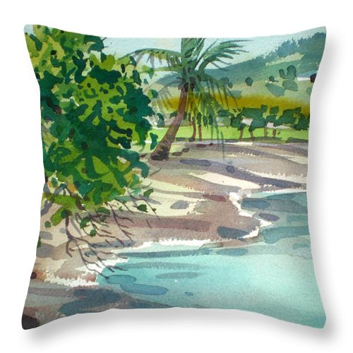 St. Croix Throw Pillow featuring the painting St. Croix Beach by Donald Maier