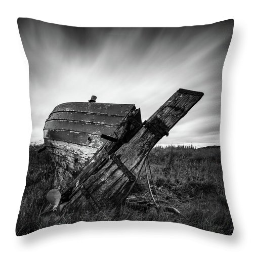 Fishing Boat Throw Pillow featuring the photograph St Cyrus Wreck by Dave Bowman