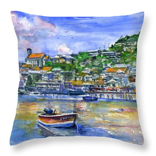 Caribbean Throw Pillow featuring the painting St. George Grenada by John D Benson