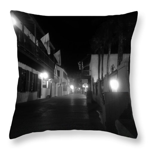 St. Augustine Florida Throw Pillow featuring the photograph St. George Street Ghosts by David Lee Thompson