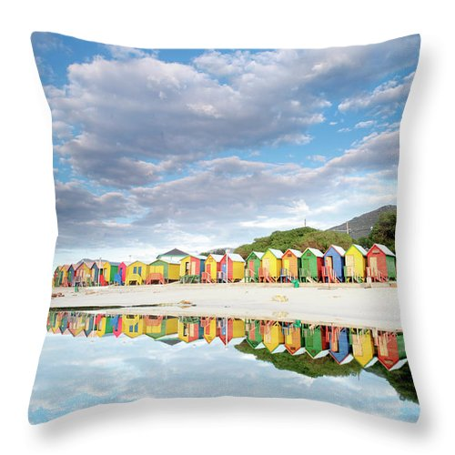 Beach Throw Pillow featuring the photograph St James Beach Huts South Africa by Neil Overy