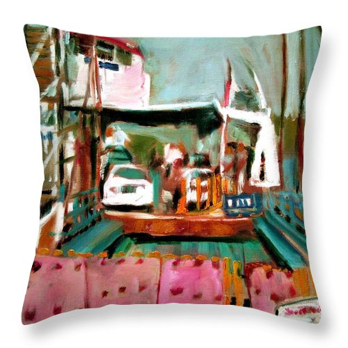 Dornberg Throw Pillow featuring the painting St Johns River Ferry by Bob Dornberg