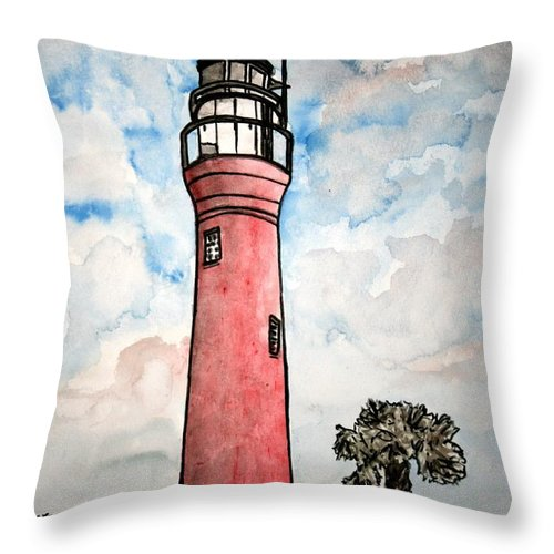 Lighthouse Throw Pillow featuring the painting St Johns River Lighthouse Florida by Derek Mccrea