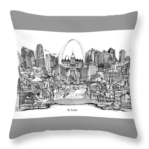 City Drawing Throw Pillow featuring the drawing St. Louis 4 by Dennis Bivens
